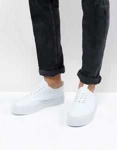 Белые парусиновые кеды на шнуровке с толстой подошвой ASOS - Белый