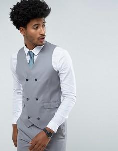 Серый жилет слим из 100% шерсти ASOS - Серый