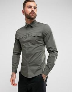 Узкая рубашка цвета хаки с двумя карманами ASOS - Зеленый