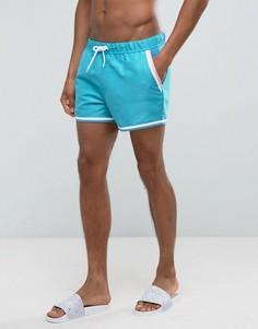Короткие шорты для плавания с контрастной окантовкой ASOS - Синий