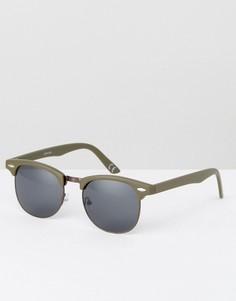 Солнцезащитные очки хаки в стиле ретро ASOS - Зеленый