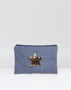 Выбеленный синий клатч с золотистой звездой South Beach - Синий