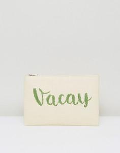 Соломенный клатч на молнии с вышивкой Vacay South Beach - Зеленый