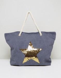 Выбеленная синяя пляжная сумка с золотой звездой South Beach - Синий