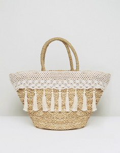 Кремовая соломенная сумка с отделкой кружевом и кисточками South Beach - Белый