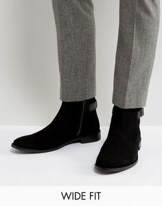 Черные замшевые ботинки челси для широкой стопы с ремешками ASOS - Черный