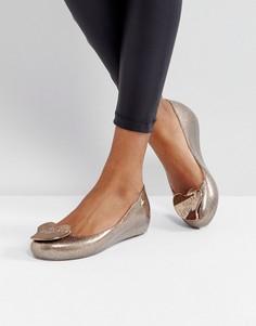 Блестящие туфли на плоской подошве Vivienne Westwood For Melissa Ultragirl - Золотой