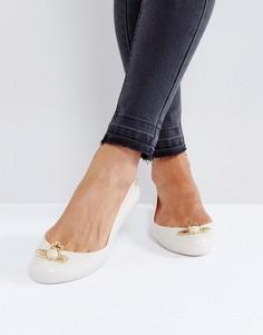 Телесные туфли на плоской подошве с искусственным жемчугом Vivienne Westwood For Melissa Space Love - Бежевый