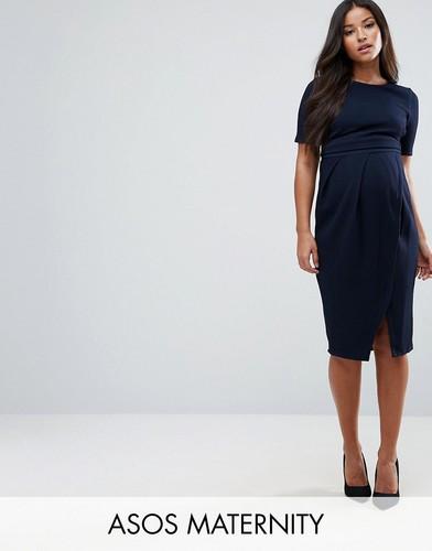 Двухслойное фактурное платье в строгом стиле ASOS Maternity - Темно-синий
