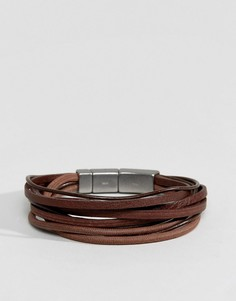 Коричневый кожаный браслет в несколько оборотов Fossil - Коричневый