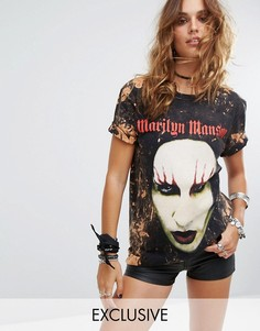 Выбеленная футболка с принтом Marilyn Manson Tour Reclaimed Vintage Inspired - Черный