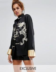 Куртка с разрезами и кружевной отделкой Reclaimed Vintage Inspired - Черный