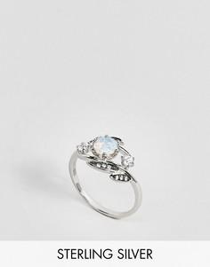 Серебряное кольцо с дизайном в виде листьев с опалом Regal Rose - Серебряный