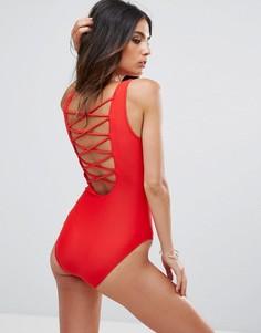 Слитный купальник с ремешками на спине Goddiva - Красный