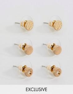 Набор из 3 пар золотистых серег-гвоздиков DesignB эксклюзивно для ASOS - Золотой