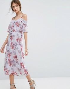 Платье миди с вырезами на плечах и кружевной отделкой New Look - Фиолетовый