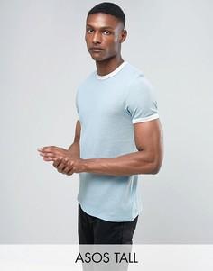 Синяя фактурная футболка из вафельного трикотажа ASOS TALL - Синий