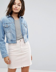 Укороченная джинсовая куртка с молнией New Look - Синий