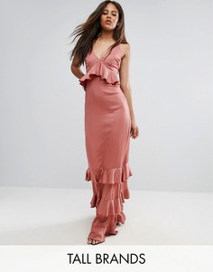 Платье макси с оборками и вставками из премиум-кружева Y.A.S Studio Tall - Розовый