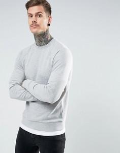 Серый меланжевый свитшот с эффектом футболки по краю ASOS - Серый