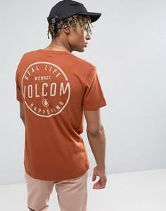 Футболка медного цвета с принтом на спине Volcom - Оранжевый