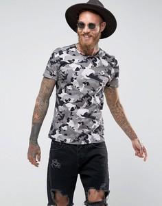Обтягивающая футболка с камуфляжным принтом Noose & Monkey - Серый