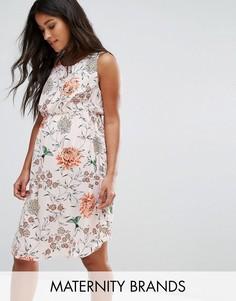 Чайное платье с цветочным принтом New Look Maternity - Розовый