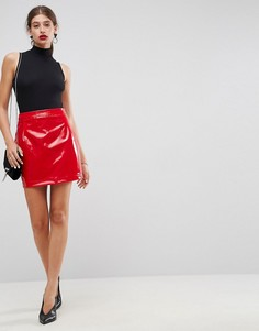 Трапециевидная мини-юбка из винила ASOS - Красный