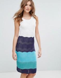 Трикотажное платье миди в стиле колор блок Lavand - Белый