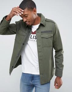 Саржевая куртка-рубашка в стиле милитари оливкового цвета Hollister - Зеленый