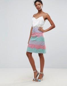 Разноцветная кружевная юбка Traffic People - Розовый