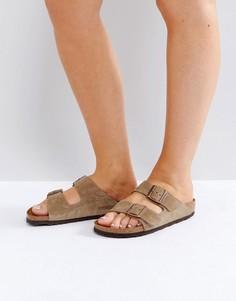 Замшевые сандалии Birkenstock Arizona - Светло-серый