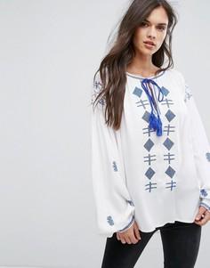 Блузка с длинными рукавами и вышивкой Hazel - Белый