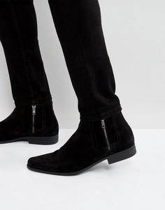 Черные ботинки челси из искусственной замши с молниями ASOS - Черный