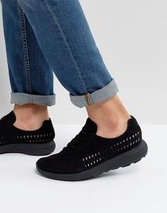 Черные кроссовки из искусственной замши с плетеной отделкой ASOS - Черный