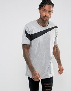 Серая свободная футболка с логотипом-галочкой Nike 856490-063 - Серый