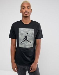 Черная футболка с камуфляжным принтом Nike Jordan 925809-010 - Черный