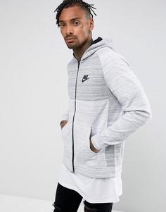Худи серого цвета на молнии Nike Advanced 883025-100 - Серый