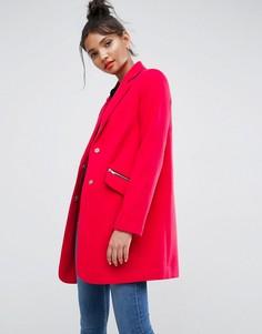 Пальто бойфренда с карманом на молнии ASOS - Розовый