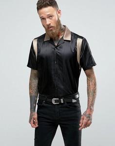 Черная атласная оверсайз-рубашка для боулинга ASOS - Черный