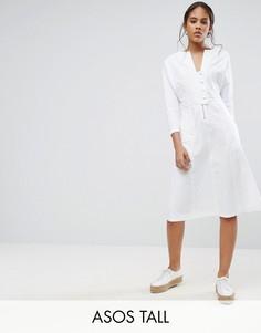 Платье миди с кнопками ASOS TALL - Белый