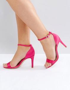 Атласные босоножки на каблуке New Look - Розовый