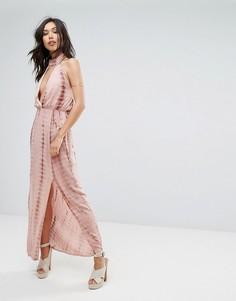 Платье-халтер макси с разрезами и принтом тай-дай Missguided - Бежевый