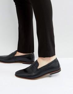 Черные кожаные лоферы с натуральной подошвой ASOS - Черный
