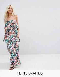 Платье макси с ярусными оборками Boohoo Petite - Мульти