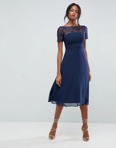 Платье миди с кружевными вставками ASOS - Темно-синий