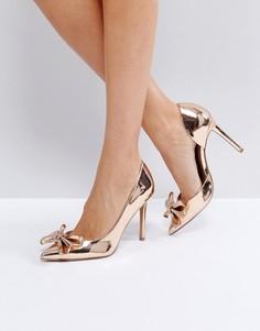 Туфли на высоком каблуке с острым носком и бантами ASOS POPPIN - Золотой