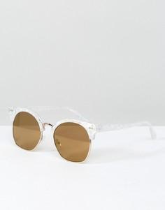 Белые солнцезащитные очки кошачий глаз с мраморным принтом Skinnydip - Золотой
