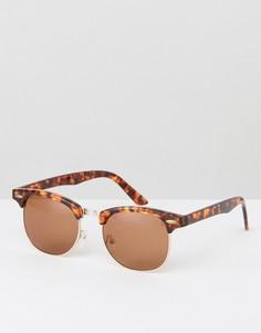 Черепаховые солнцезащитные очки в стиле ретро ASOS - Коричневый