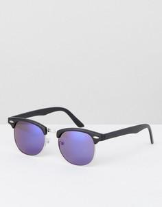 Солнцезащитные очки в стиле ретро с синими линзами ASOS - Синий
